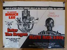 ENTER THE DRAGON / DEATH RACE 2000 (1975) - original UK quad film/movie poster