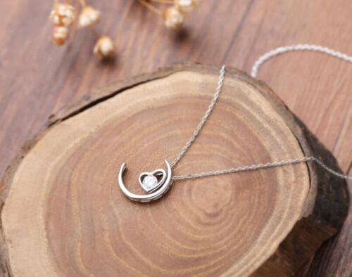 B25 Halskette Herz im Mond mit weißen Zirkonia Sterling Silber 925