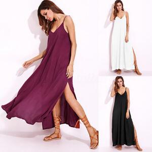 ZANZEA-Women-Plus-Size-Boho-Evening-Party-Long-Dress-Slit-Beach-Maxi-Sundress