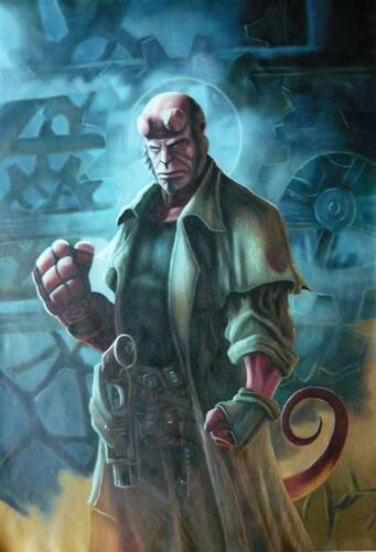 Hellboy Oil 40x28 Painting not giclee or popart print.