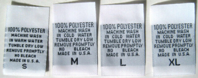 100/% POLYESTER XS S M L XL XXL 500 pcs WOVEN CLOTHING CARE LABEL SIZE TAG