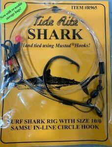 2 MUSTAD SHARK TIDE RITE SIZE 10//0 SURF SHARK SAMSU IN-LINE RIG R965 FISH HOOKS