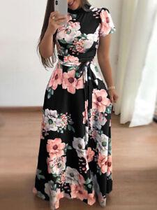Women-Summer-Boho-Floral-Print-Short-Sleeve-Long-Maxi-Dress-Party-Beach-Sundress