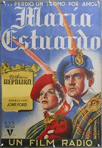 XI09D-Mary-de-Escocia-Katharine-Hepburn-John-Ford-Orig-1sh-espanol-Cartel-Litografia