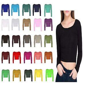 605c72513ece4 Ladies Soft Stretch Short Plain Long Sleeve Crew Neck TShirt Women ...