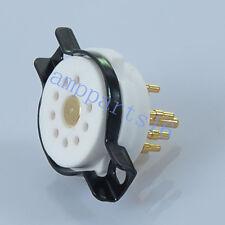 2pcs CMC 9 Pin steel Ceramic Machine made Gold Tube Socket for ECC83 12AX7 EL84