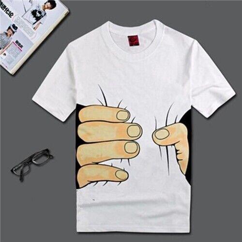 Fashion Men/'s 3D T-shirt Big Main Imprimé Drôle à manches courtes tee shirt
