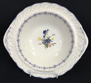 Nikko-Blue-Peony-Round-Vegetable-Serving-Bowl-10-Diameter-Flowers-Dots-Japan