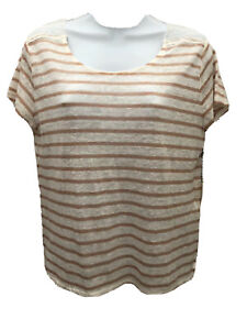 Forever 21 Womens  Blouse T Shirt Linen with Cotton Lace Crew Neck Size L