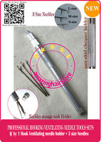 Making/Repair Lace Wig Toupee Hairpiece by 3pc Hooking Ventilating Needle+Holder