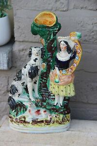 Antique-victorian-STAFFORDSHIRE-pottery-Statue-dog
