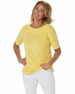 Denim-amp-Co-Womens-Boat-Notch-Neck-Elbow-Sleeve-Top-Medium-Sun-Yellow-A354178
