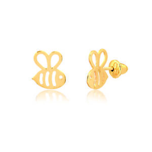 14k-Solid-Gold-Bee-Shaped-Push-Backs-Stud-Earrings-for-Babies-Infants-Toddlers