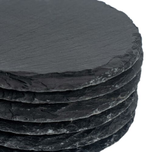 Set of 6 Round Shape Natural Grey Slate Drinks Cups Coasters