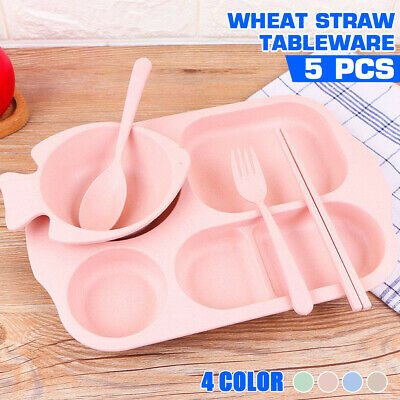Cute Wheat Straw Car Shape Baby Kids Table Food Tray Mat Plate Bowls UK
