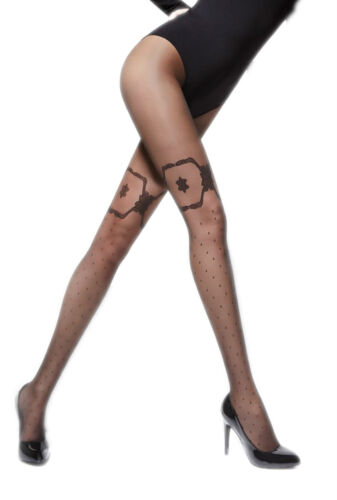 Elegant Patterned Black Beige Pantyhose Tights 20 Denier Hosiery Aran Adrian