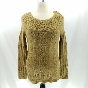 Ann-Taylor-Loft-Sweater-S-Soft-Mohair-Cable-Knit-L-S-Boat-Neck-Tunic