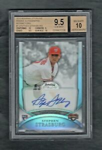 2010-Bowman-Sterling-1-STEPHEN-STRAUSBURG-REFRACTOR-Rookie-Autograph-BGS-9-5-10