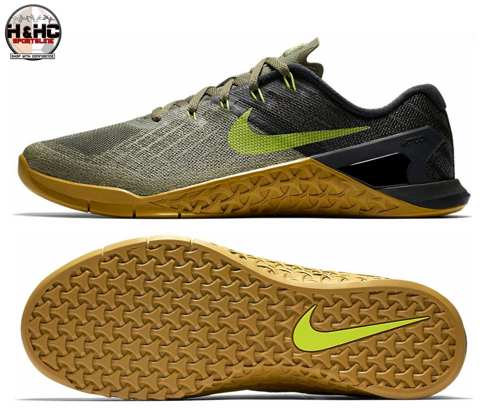 Nike Metcon 3  852928 201 Medium Olive/Bright Cactus Men's Training Shoes Sz 8.5