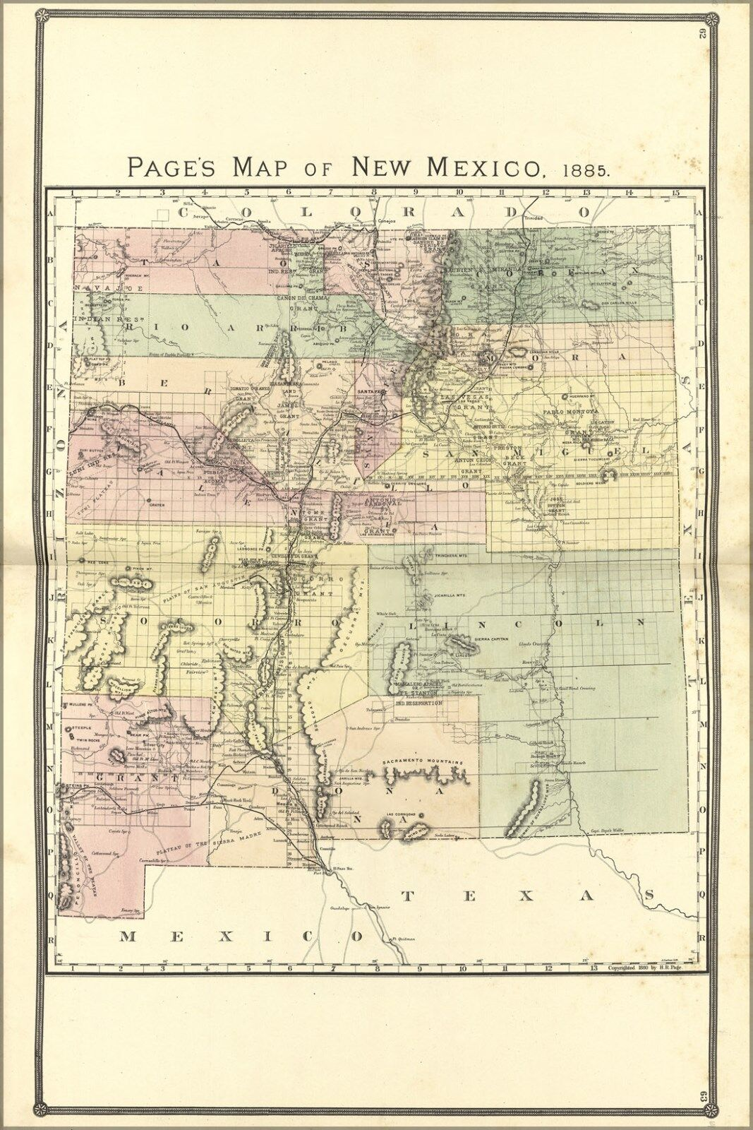 Poster, Many Größes; Map Of New Mexico, 1885 skyd62110196 ...