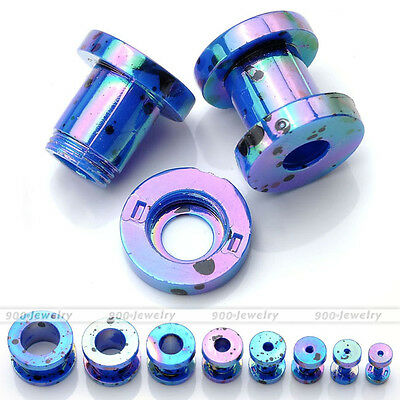 """Pair(2) Colorful 12g-1/2"""" Dot Acrylic Double Flared Ear Tunnels Plugs Expander"""
