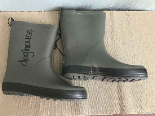BNWT Little Boys Size 1 Rivers Doghouse Brand Charcoal Grey with black Gumboots
