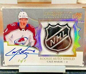 2019-20 UD THE CUP CALE MAKAR EXQUISITE COLLECTION ROOKIE AUTO SHIELD 1/1 AVS