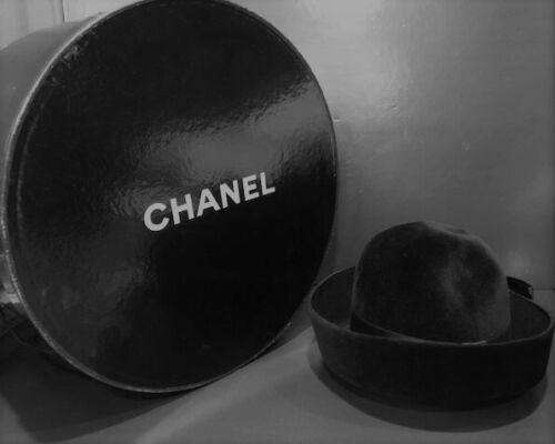 Chanel Black Fur Felt Hat w Bow + Chanel Hat Box