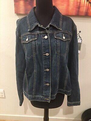 Persevering New! Gap Womens Denim Jacket Xl Blue Dark Button Down 100% Original