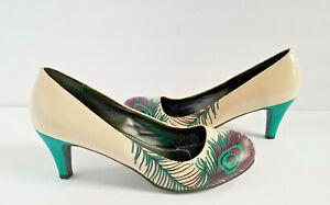 T.U.K. SHOES ~ Women's High Heels Colorful Peacock Feather