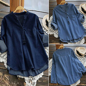 Womens-V-Neck-Long-Sleeve-Loose-Shirts-Ladies-Casual-Button-Denim-Blouse-Tops