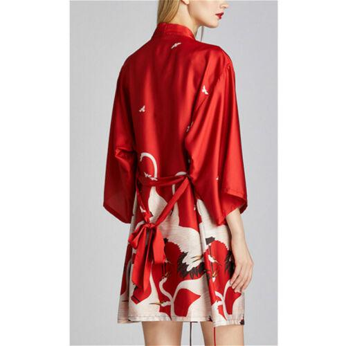 Details about  /Women Kimono Coat Yukata Outwear Bathrobe Tops Crane Faux Silk Loose Retro Pink