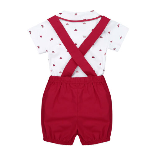Infant Baby Boys Outfit Lapel Bowtie Romper Jumpsuit with Suspender Shorts Set