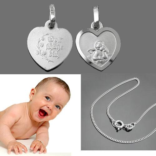 Kinder Schutzengel Herz Anhänger Weißgold Gold 333 /& 36 cm Silber 925 Rho Kette
