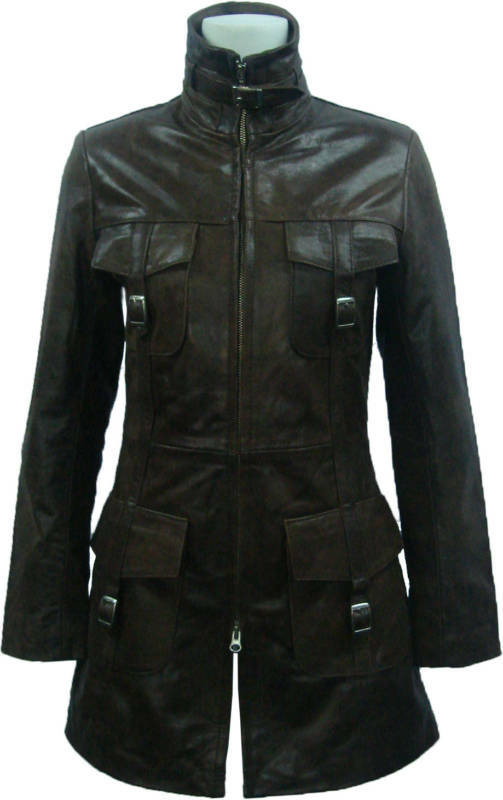 UNICORN Womens   Ladies Brown Crunch Leather Coat 'Size' 10  L5