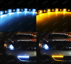 Audi-Style-White-Amber-Switchback-LED-Strip-Lights-For-Car-SUV-Truck-12-034-18-SMD
