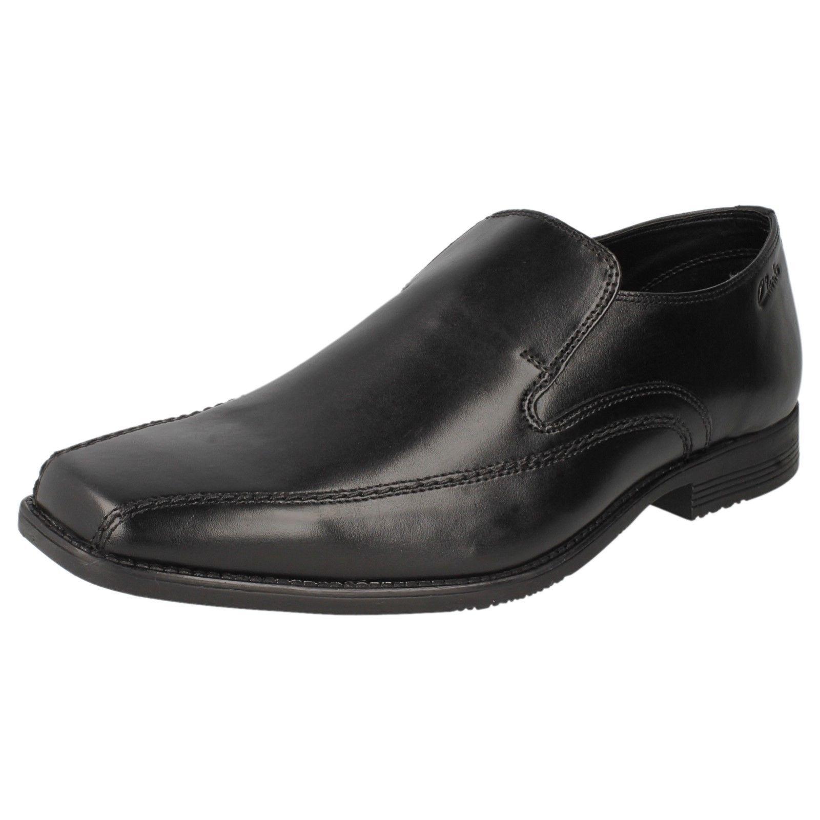 Clarks Acre Out Uomo Nero Pelle Scarpe Slip-on Raccordo G (38B) (Kett) Scarpe classiche da uomo