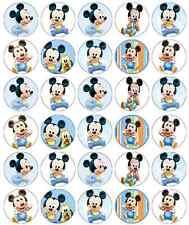 Mickey Mouse Bebé Cumpleaños Cupcake Toppers Comestible Oblea Papel Buy 2 Get 3RD Gratis