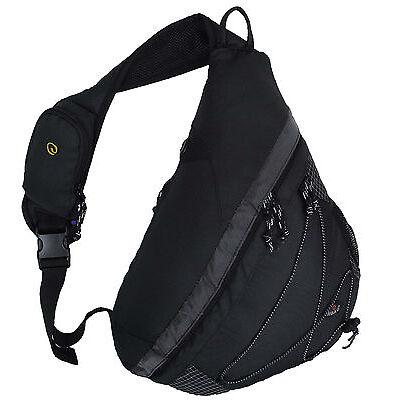 """20"""" HBAG Sling Backpack Single Strap Shoulder Bag, Audio & Bottle Pocket, Black"""