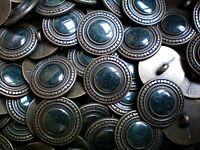 20mm 32L Antique Dark Bronze & Dark Blue Metal Shank Coat Jacket Buttons (XM14)