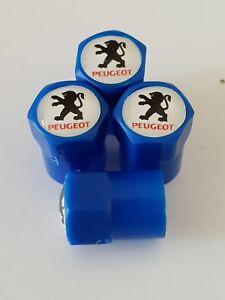 PEUGEOT-valve-DUST-CAPS-PLASTIC-NON-STICK-All-cars-bikes-7-colours-blue-408-308