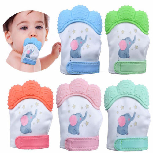Elephant Baby Silicone Mitts Teething Mitten Molars Glove Wrapper Boy Soft White