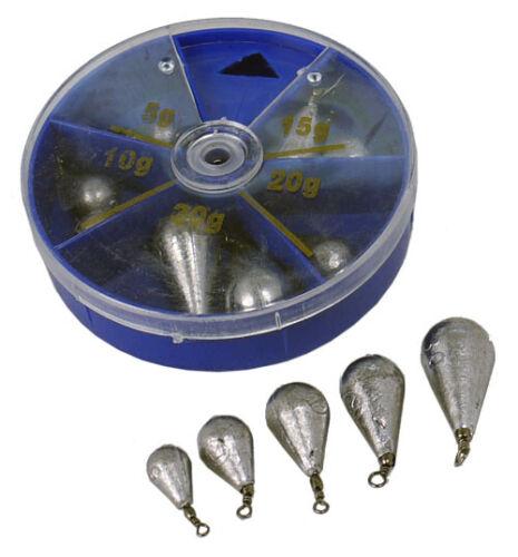Paladin Wirbelblei Sortiment Blei 5 bis 30g Birnenblei Wurfblei Grundfischen Box