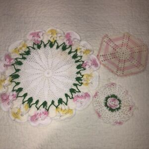 """Lot of 3 Vintage Hand Crocheted Doilies 12"""" 3D Pansies + 2 Pink Hanging Rounds"""