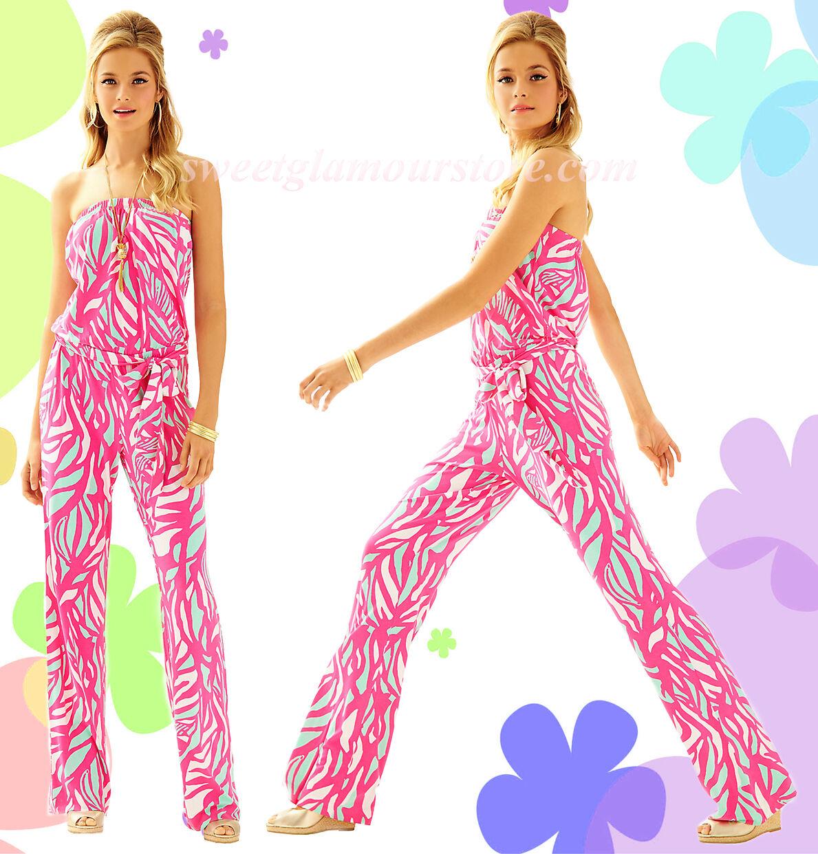 178 Lilly Pulitzer Tia Capri Pink Papaya Playa Jersey Strapless Belted Jumpsuit