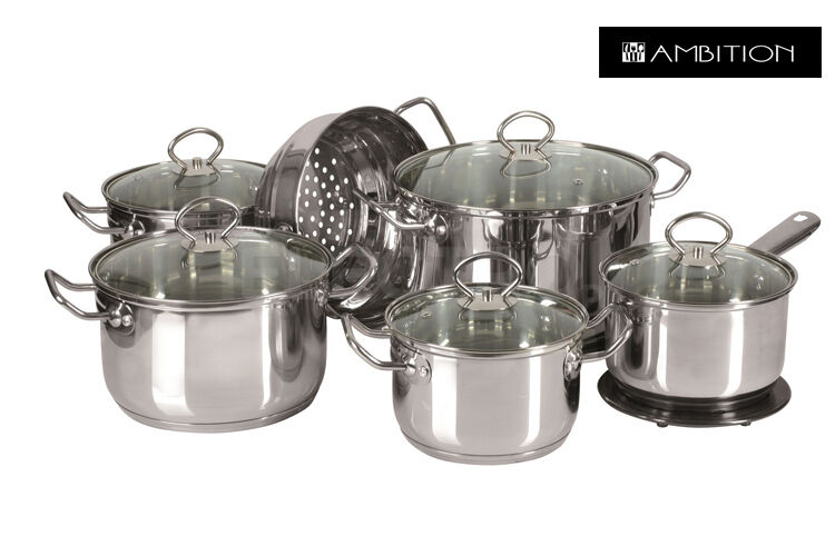 Ambición Cookware Set 13 Piezas Cacerola, stewpots, Tapas De Vidrio Ollas