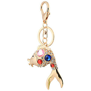 6d22b35e2e9 Details about Handbag Buckle Charms Accessories Gold Crystal Big Fish  Keyrings Key Chains HK66
