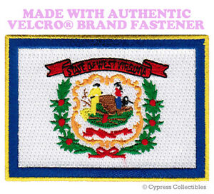 WEST VIRGINIA STATE FLAG PATCH EMBROIDERED APPLIQUE w// VELCRO® Brand Fastener