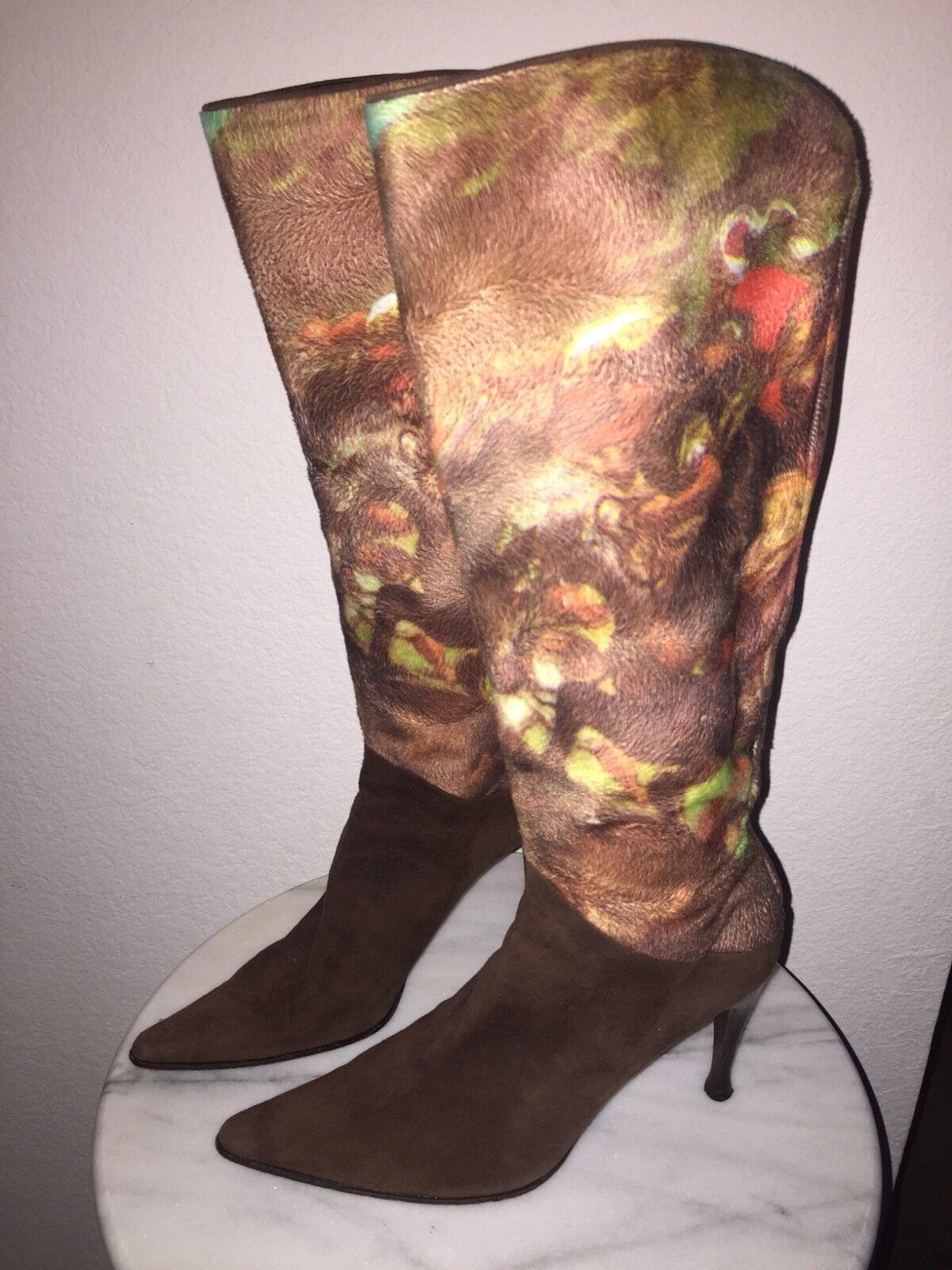 SERGIO ROSSI LEATHER SUEDE PATTERN KNEE HIGH BOOT