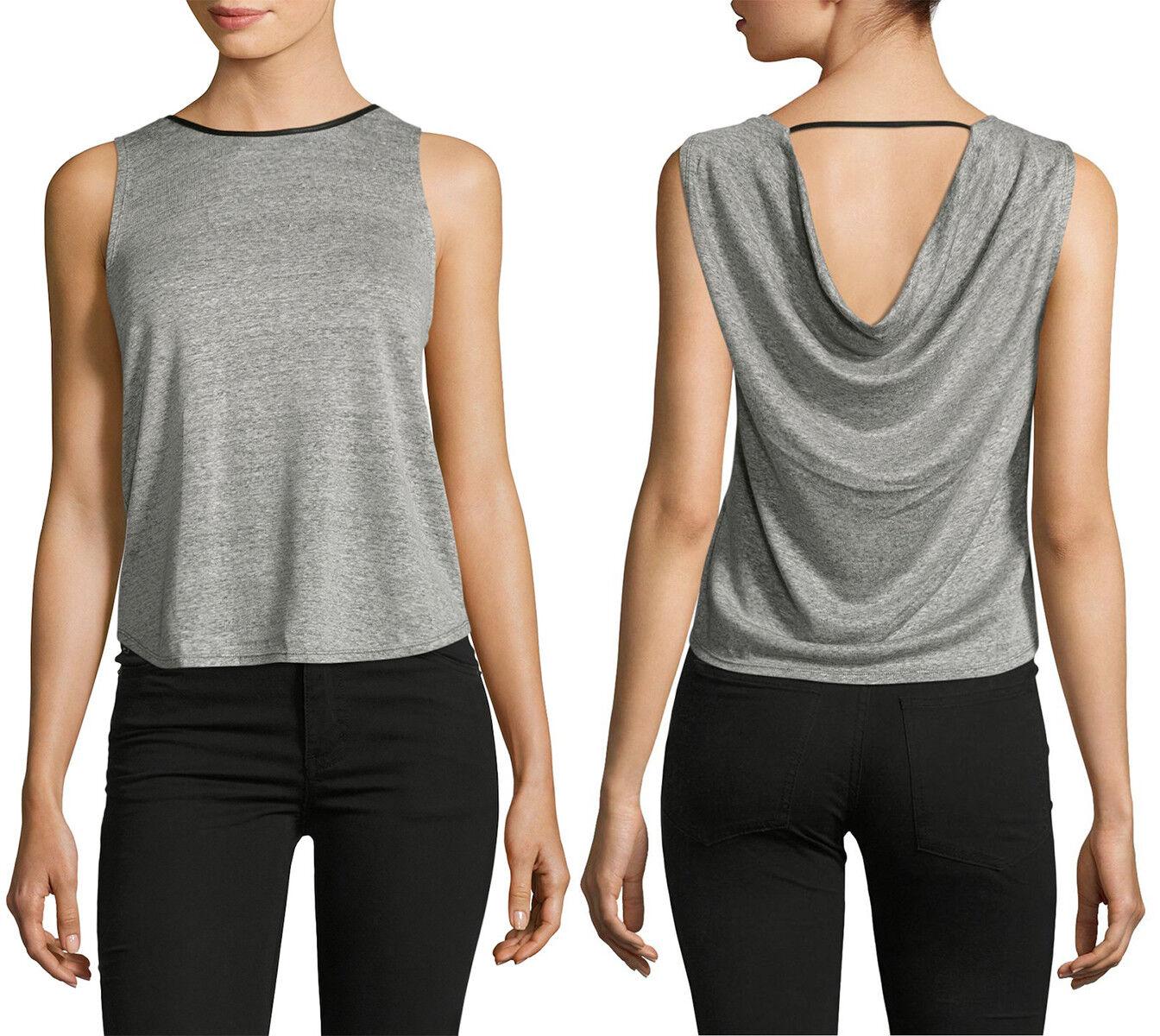 Alice + Olivia Kassie Linen Blend Leather Trim Crop Top Charcoal Größe L